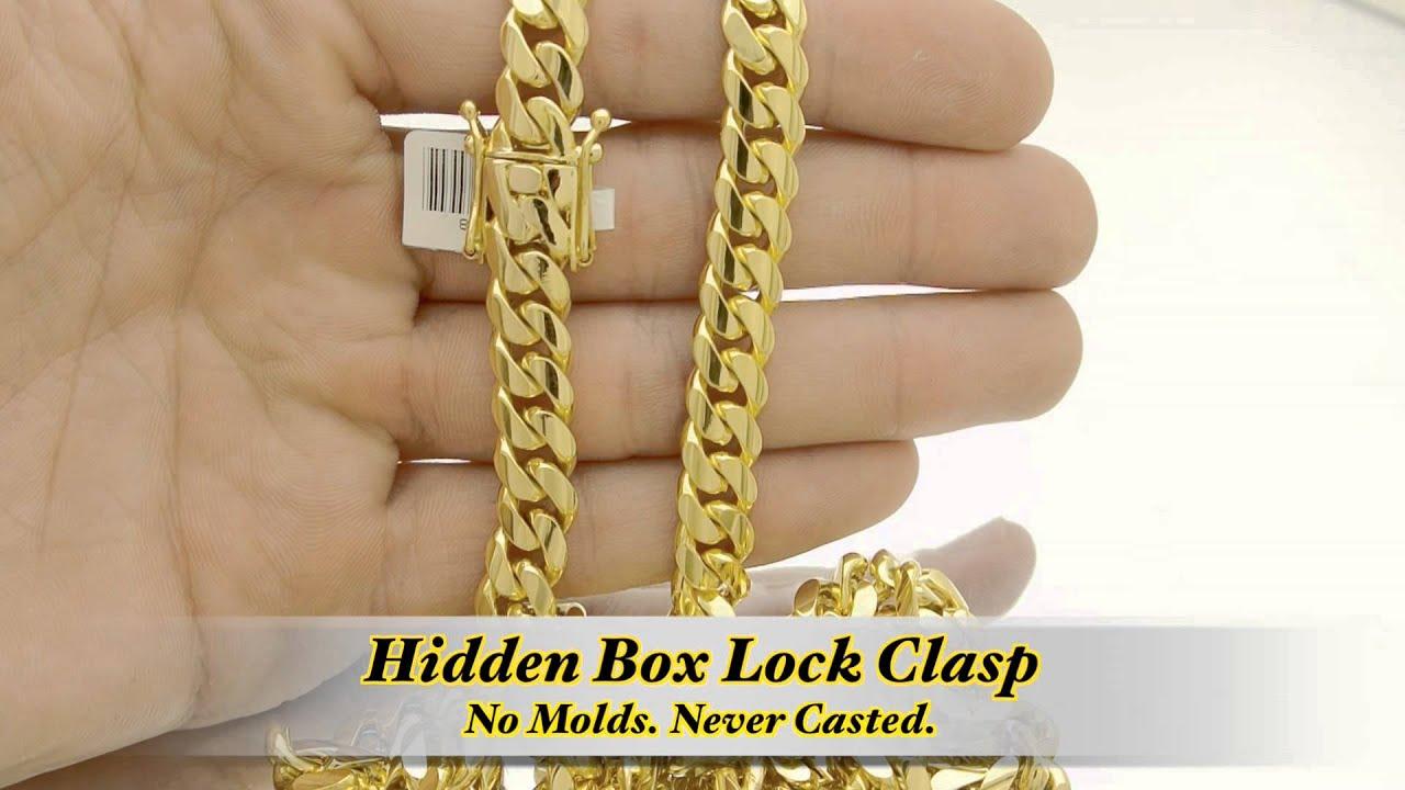 10k Gold Cuban Link Chain >> 9mm Miami Cuban Link Box Lock Chain HD Hand Made Custom ...