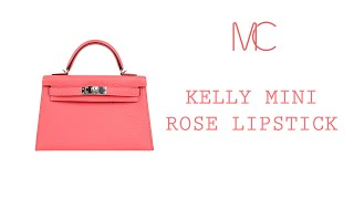 c053be61172a Hermes Kelly 20 Bag Sellier Rose Lipstick Chevre Leather Palladium •  MIGHTYCHIC •