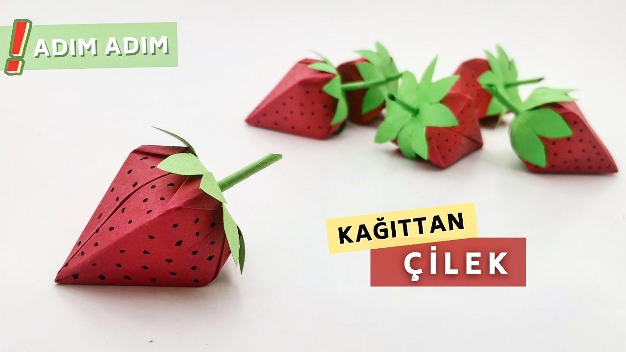 Origami 3d Çilek Yapımı Kağıttan Kolay Çilek Nasıl Yapılır?