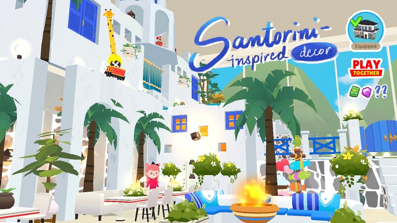 Santorini-Inspired House Design   21K Modern House   Speed Build   Play Together