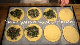 Spinach and Chestnut Mushroom Pastry Tarts