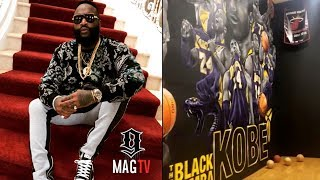 Rick Ross Shows Kobe Wall Mural In His Indoor Gym!