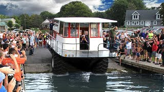 Amphibious Driving Houseboat - First Launch