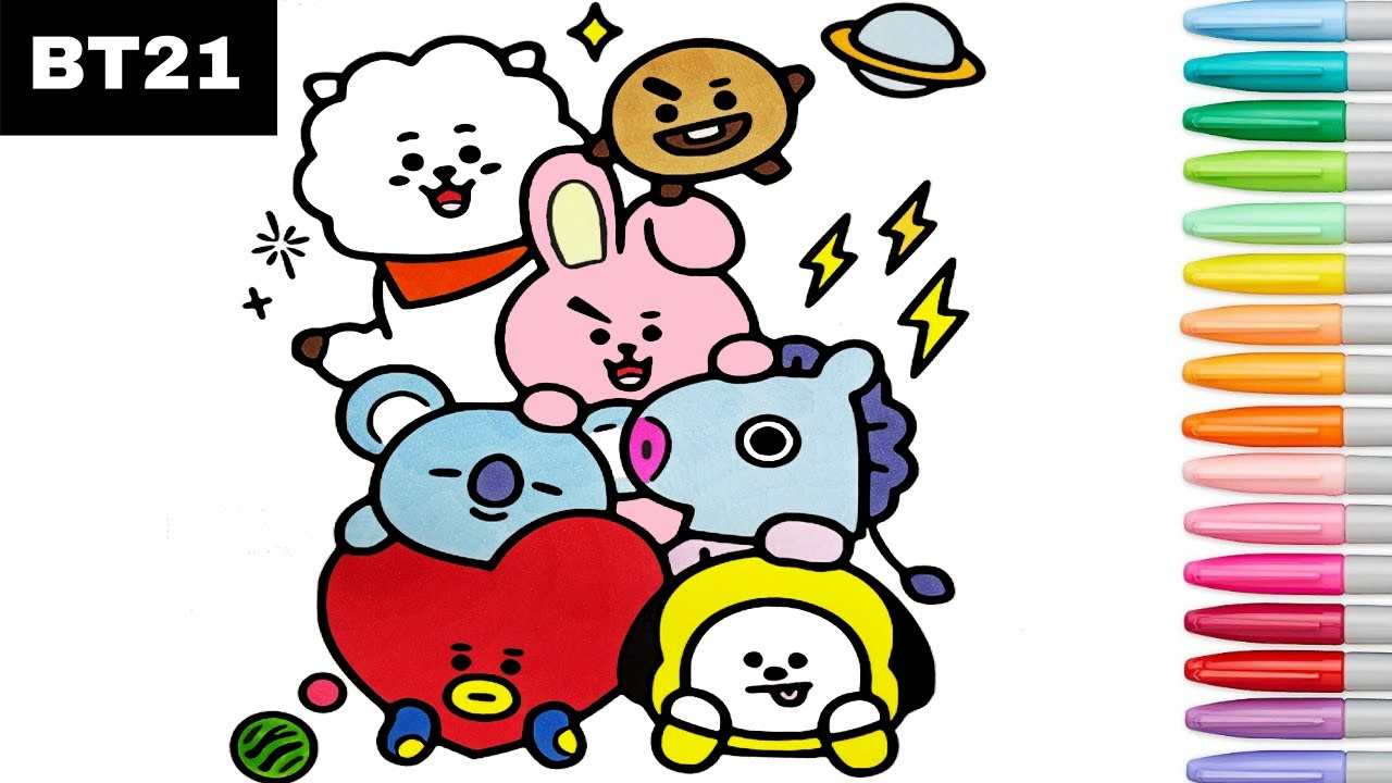 Bt21 Coloring Pages Chimmy Tata Cooky Shooky Mang Rj Youtube
