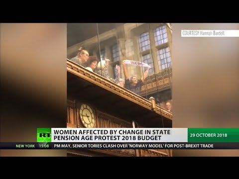 Women affected by change in state pension age protest 2018 Budget