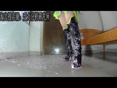 Chinese girl wear cosplay boots crush food 孙尚香