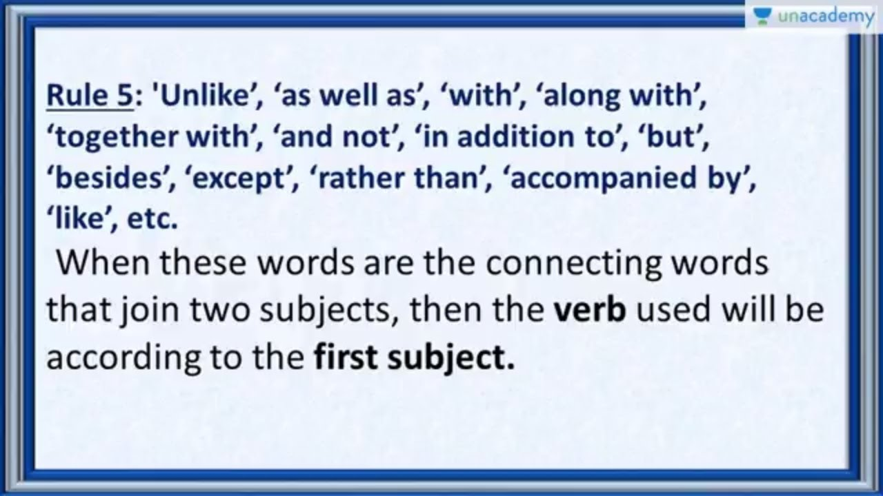 Subject Verb Agreement Rule 5 When Connectors Such As As Well As