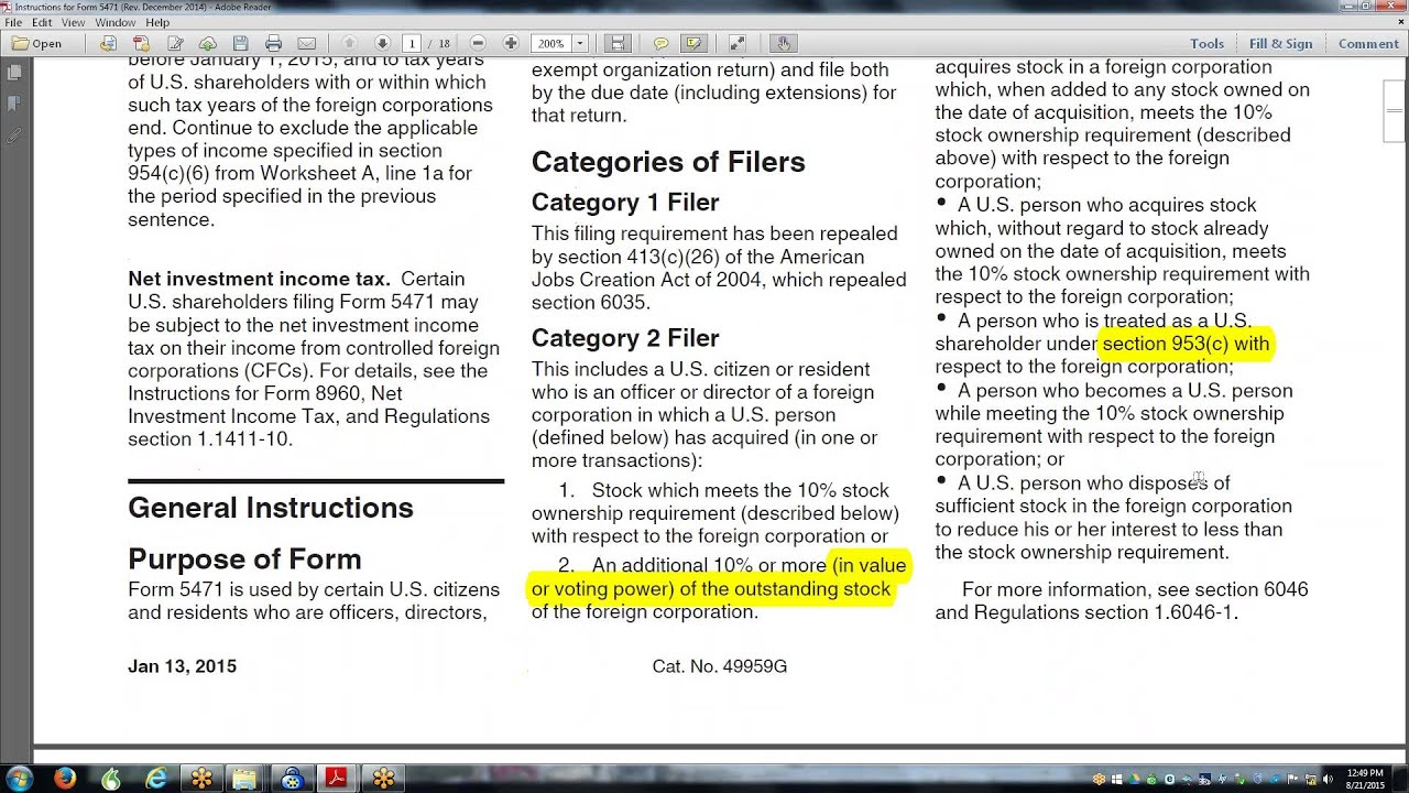 Form 5471 Worksheet A: international tax planning with instructions to 5471 youtube,
