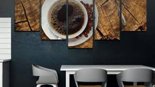 Coffee On Wood Kitchen 5 Piece Canvas Wall  Art Paintings Set