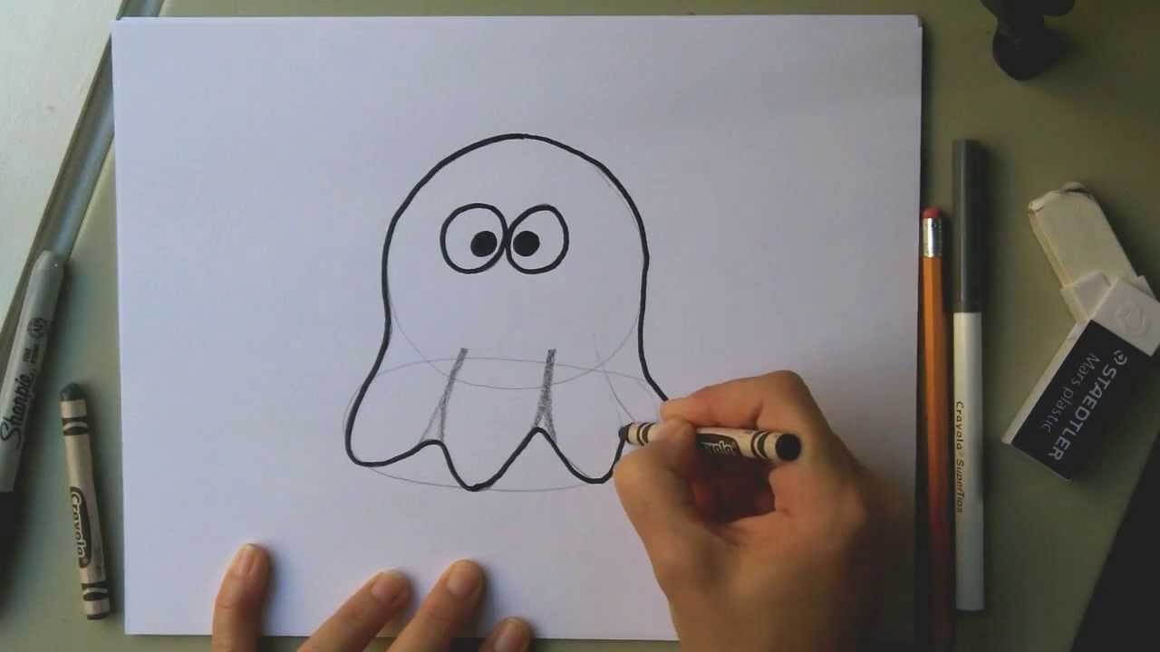 How to draw a cute ghost for Halloween - easy cartoon ...