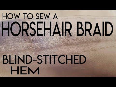 How to sew a horsehair braid blind stitched hem. DIY hem wedding gown,