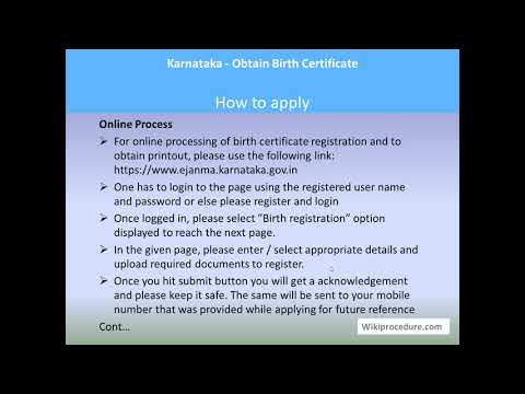 Karnataka - Online Birth Certificate