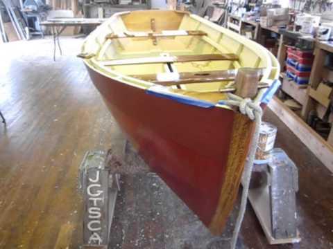 Flat-Bottom Wooden Sailing Skiff