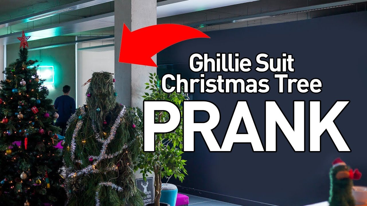 ghillie suit christmas tree office prank