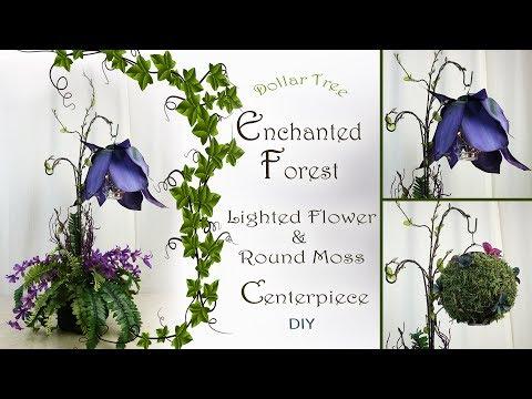 Enchanted Forest Lighted Flower & Moss Lantern Centerpiece / Fairy Party Decor / Dollar Tree DIY