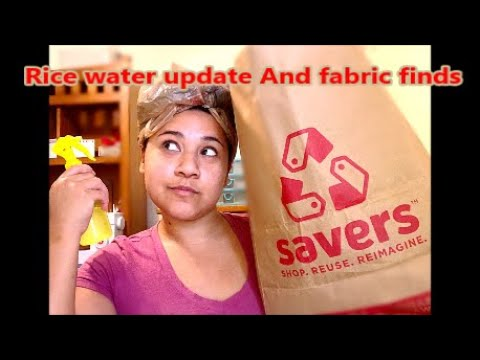 5th month rice water update/ Savers fabric finds/ hair growth// thrifting for fabric