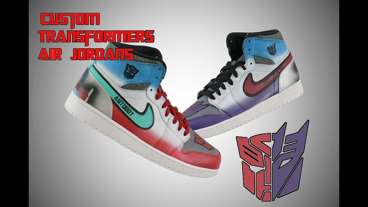 new arrival 57c21 7bd13 Complete Custom   Transformers Autobots vs Decepticons Air Jordan 1 s by  Khameleon