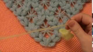 Вязание крючком бактуса узором из пышных столбиков