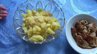 Салат из валуев(кульбиков) с картофелем