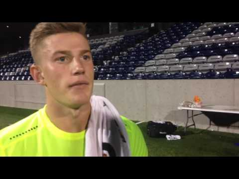 Creighton Men's Soccer Goalkeeper Alex Kapp following Denver match  92116