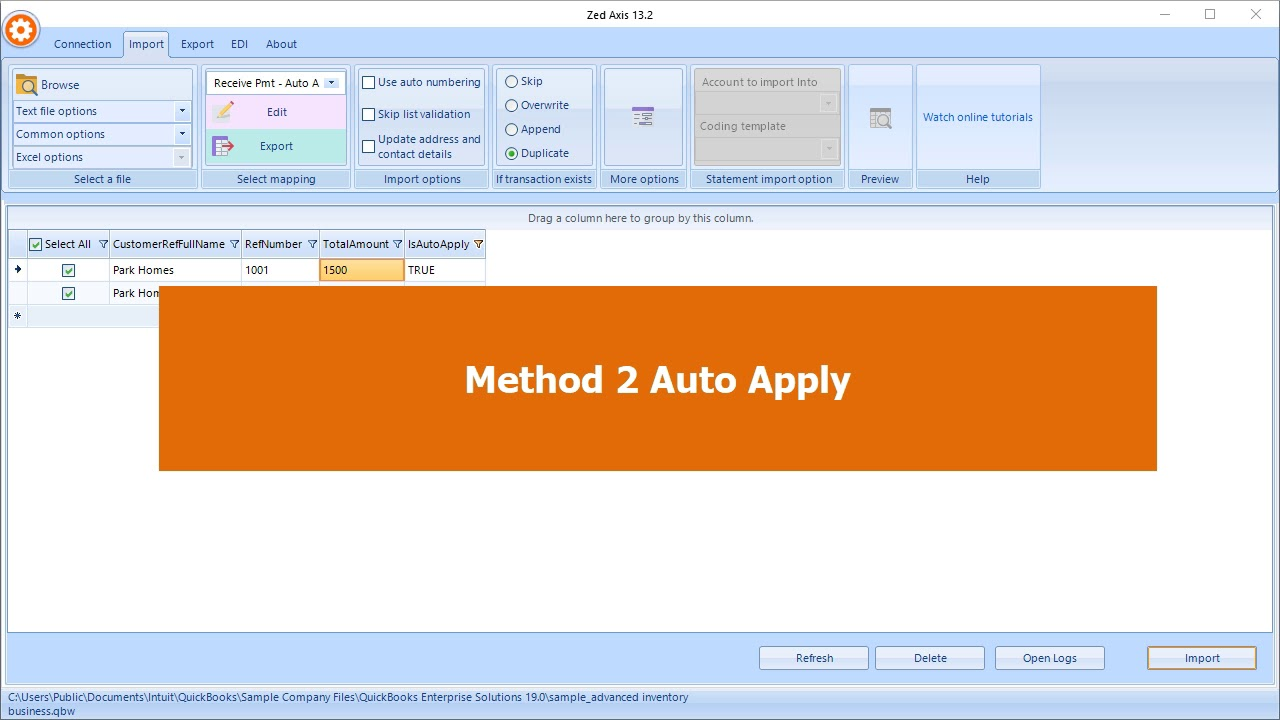 Import receive payments into QuickBooks - Zed Systems