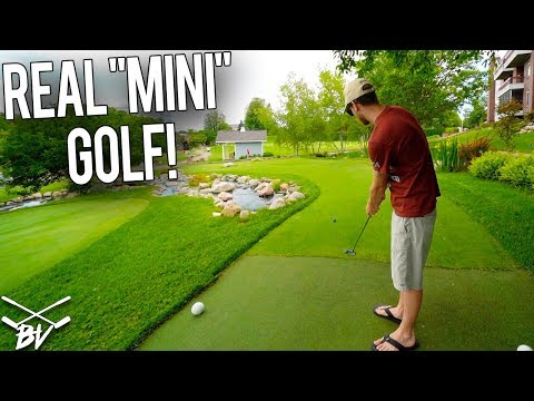 """IS IT POSSIBLE TO GET A MINI GOLF HOLE IN ONE HERE?!  - PLAYING REAL """"MINI"""" GOLF!"""