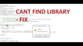 how to fix can't find project or library in vba - vbatip#37