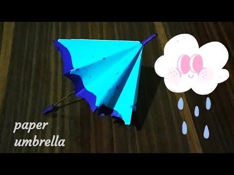 How to make paper umbrella   DIY Crafts   Origami Umbrella ☂️