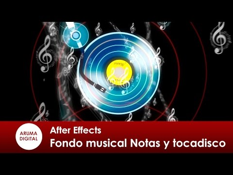 After Effects 258 Fondo musical con notas y tocadiscos
