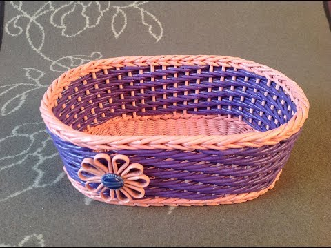 #11 Корзинка весенняя Мастер-класс от А до Я DIY Newspaper Basket Weaving Tutorial ENGLISH SUBTITLES