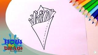 How to draw fries | Hoe teken je een zak friet