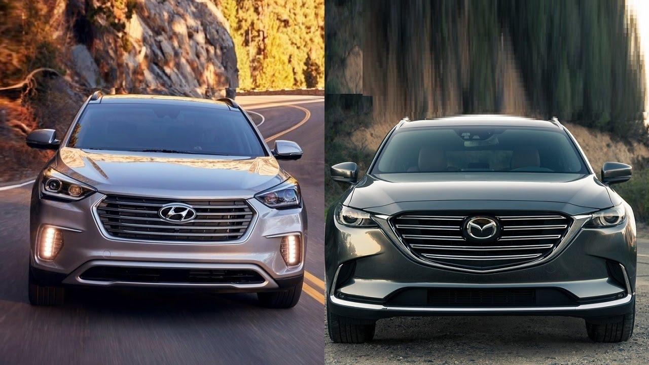 Mazda Santa Fe >> 2017 Hyundai Santa Fe Vs 2016 Mazda Cx 9 Youtube