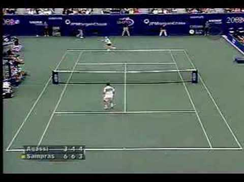 Sampras serve and volley against Agassi, US Open 2002