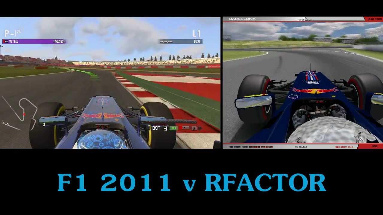 F1 Game vs rFactor : Red Bull at Circuit de Catalunya