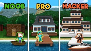 Minecraft - LAKE HOUSE CHALLENGE! (NOOB vs PRO vs HACKER)