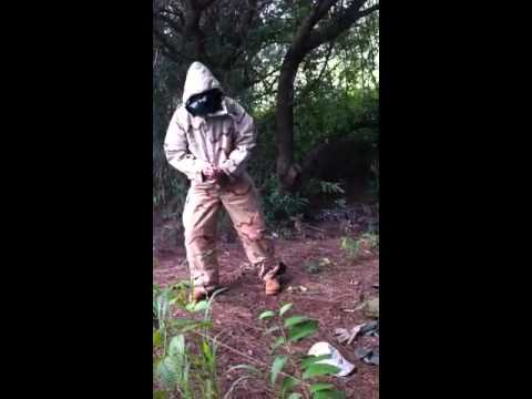Putting on the Army MOPP suit