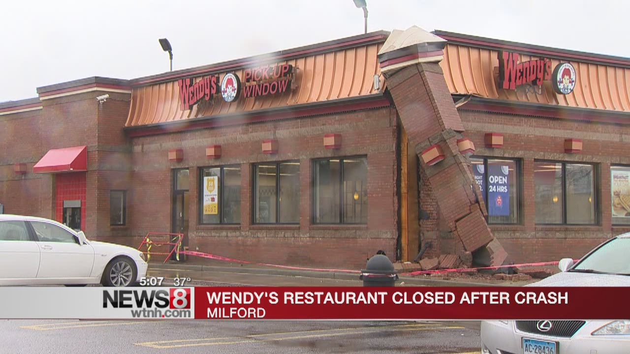 Car crashes into Wendy's restaurant in Milford