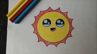 How to draw a sun : Cute Sun drawing : Simple sun drawing