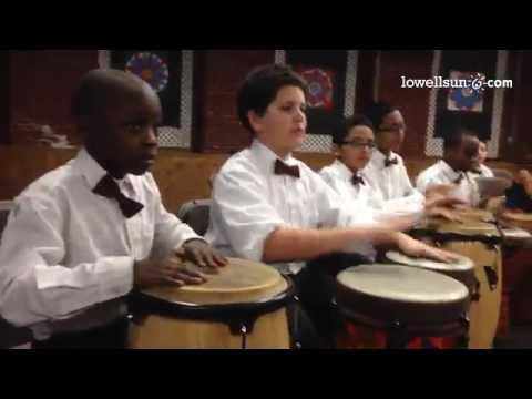 #Lowell Community Charter Public School Drumming & Percussion kids honor #Mandela. #Music