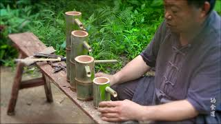 Grandpa makes flowing bamboo art with wheels, exquisite and beautiful.
