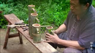 爷爷上山砍竹子,做带轮子的流水竹艺品,精致漂亮好喜欢