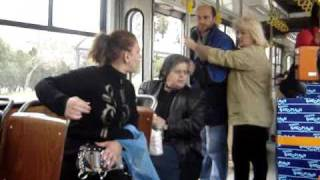 greek bus fight in thessaloniki