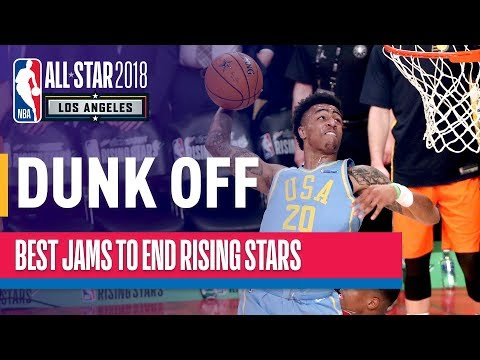 AWESOME DUNK OFF towards end of 2018 Rising Stars (VIDEO)