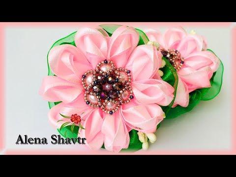 Цветы из органзы и атласной ленты