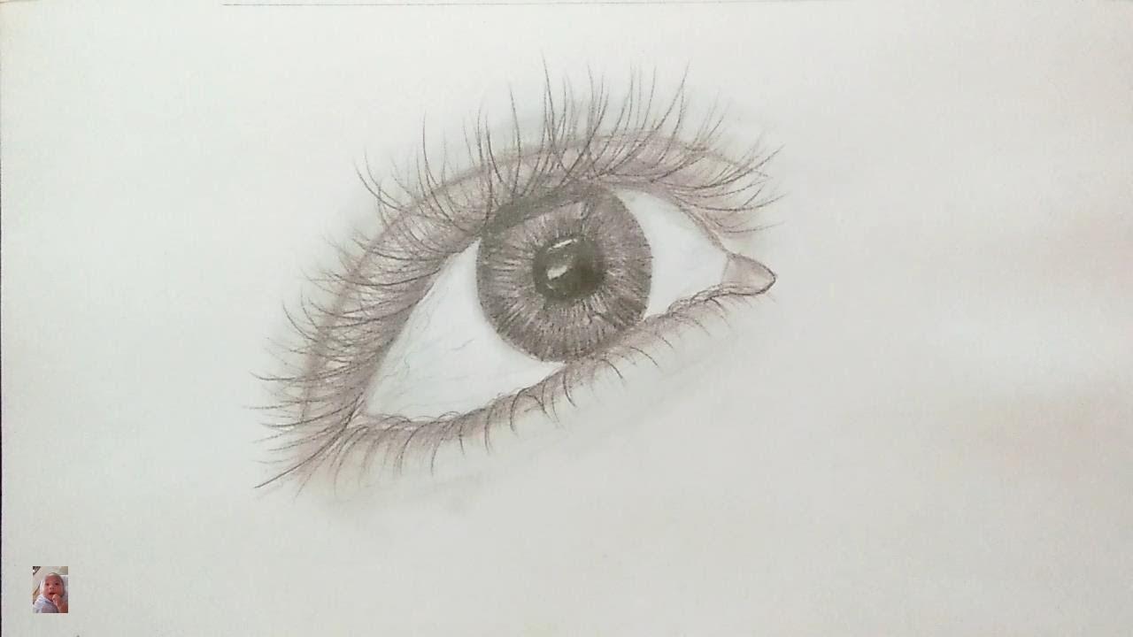 Vẽ mắt đơn giản bằng bút chì – Draw eyes simply by pencil.