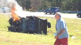 66-Year-Old Man Rescues Woman From Burning Car That Flipped Over On Highway