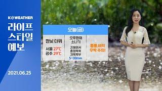 [날씨] 6월 25일_오늘(금) 한낮 더위, 서울 27…