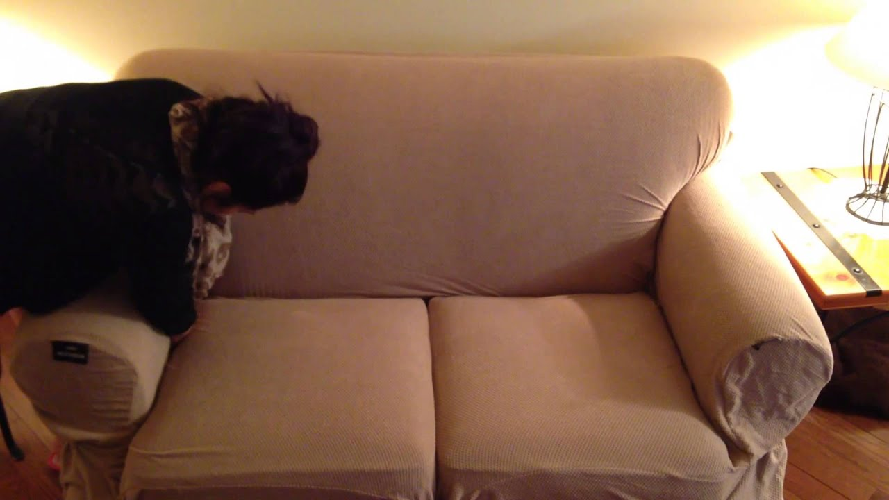 furniture slipcover mainstays loveseat 1 piece pixel slipcover how to install and unbox