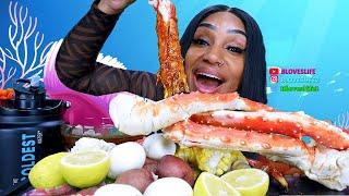 Seafood Boil Huge King Crab Legs Mukbang | by Bloveslife