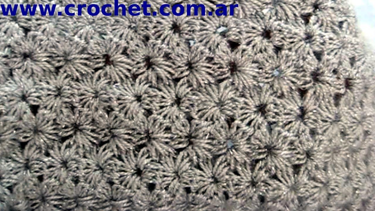 Punto JAZMIN tradicional en tejido croche o ganchillo tutorial paso ...